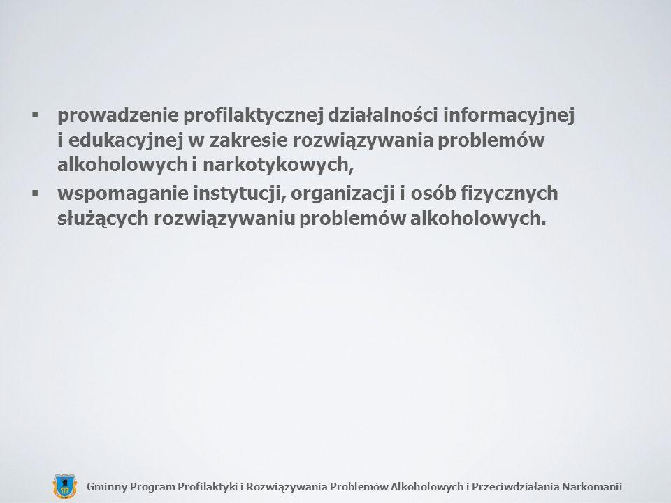 Gminny Program Profilaktyki i Rozwiązywania Problemów Alkoholowych i Przeciwdziałania Narkomanii prowadzenie profilaktycznej działalności informacyjne