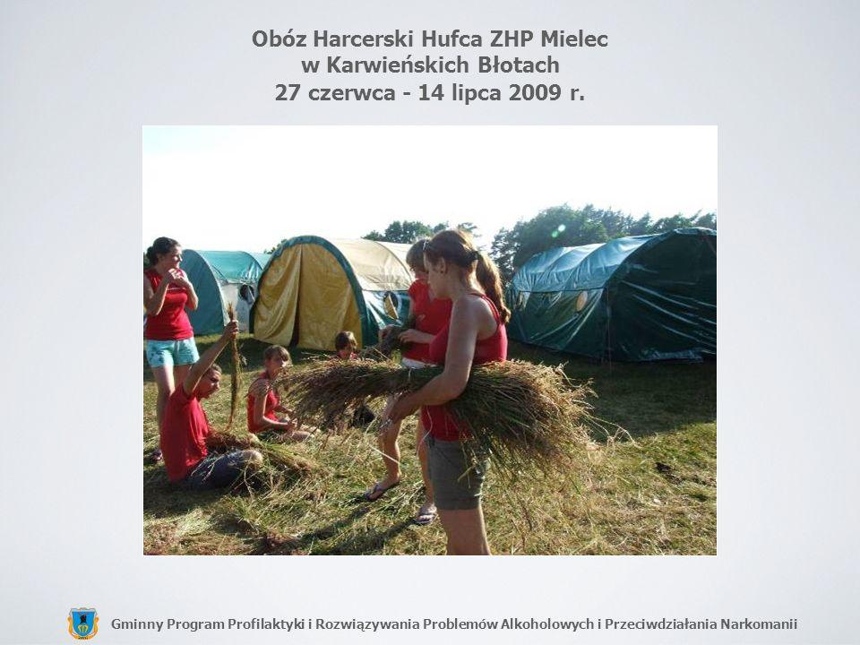Gminny Program Profilaktyki i Rozwiązywania Problemów Alkoholowych i Przeciwdziałania Narkomanii Obóz Harcerski Hufca ZHP Mielec w Karwieńskich Błotac