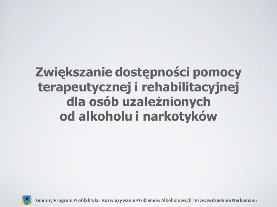 Gminny Program Profilaktyki i Rozwiązywania Problemów Alkoholowych i Przeciwdziałania Narkomanii Zwiększanie dostępności pomocy terapeutycznej i rehab