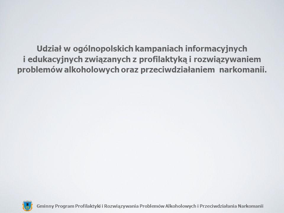 Gminny Program Profilaktyki i Rozwiązywania Problemów Alkoholowych i Przeciwdziałania Narkomanii Udział w ogólnopolskich kampaniach informacyjnych i e