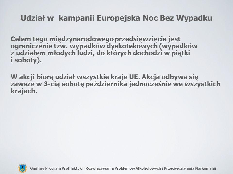 Gminny Program Profilaktyki i Rozwiązywania Problemów Alkoholowych i Przeciwdziałania Narkomanii Udział w kampanii Europejska Noc Bez Wypadku Celem te