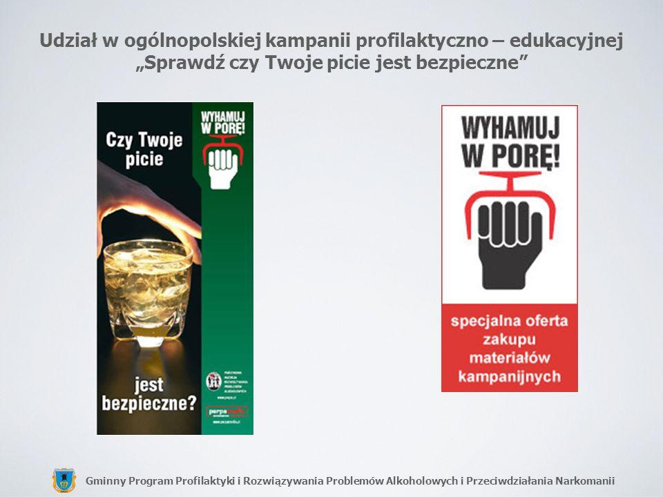 Gminny Program Profilaktyki i Rozwiązywania Problemów Alkoholowych i Przeciwdziałania Narkomanii Udział w ogólnopolskiej kampanii profilaktyczno – edu