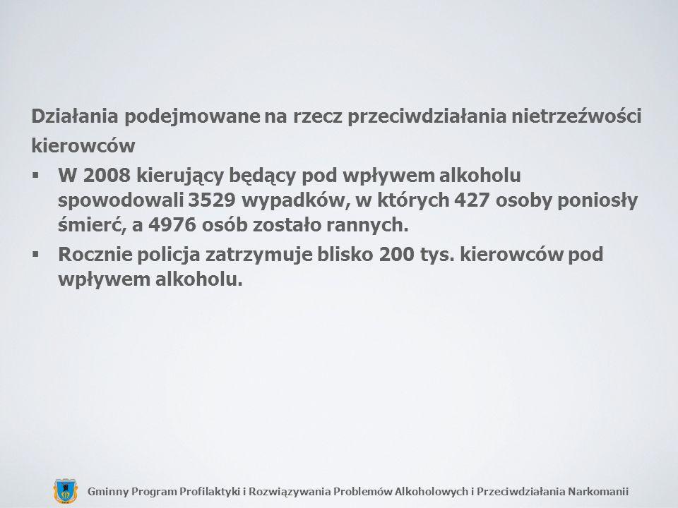 Gminny Program Profilaktyki i Rozwiązywania Problemów Alkoholowych i Przeciwdziałania Narkomanii Działania podejmowane na rzecz przeciwdziałania nietr