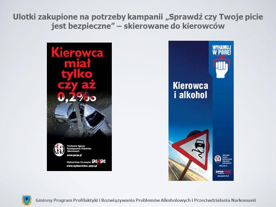 Gminny Program Profilaktyki i Rozwiązywania Problemów Alkoholowych i Przeciwdziałania Narkomanii Ulotki zakupione na potrzeby kampanii Sprawdź czy Two