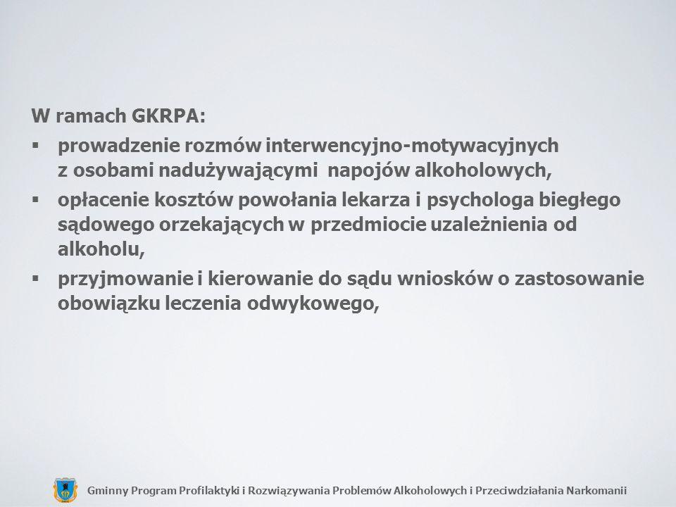 Gminny Program Profilaktyki i Rozwiązywania Problemów Alkoholowych i Przeciwdziałania Narkomanii W ramach GKRPA: prowadzenie rozmów interwencyjno-moty