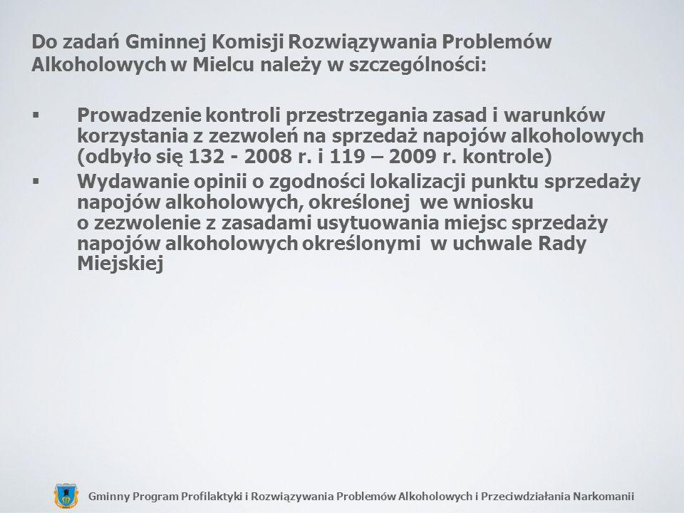 Gminny Program Profilaktyki i Rozwiązywania Problemów Alkoholowych i Przeciwdziałania Narkomanii Do zadań Gminnej Komisji Rozwiązywania Problemów Alko