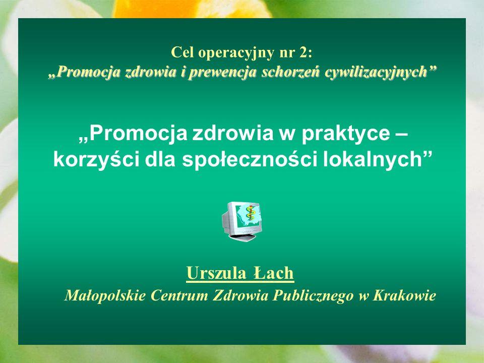 Promocja zdrowia i prewencja schorzeń cywilizacyjnych Cel operacyjny nr 2: Promocja zdrowia i prewencja schorzeń cywilizacyjnych Promocja zdrowia w pr