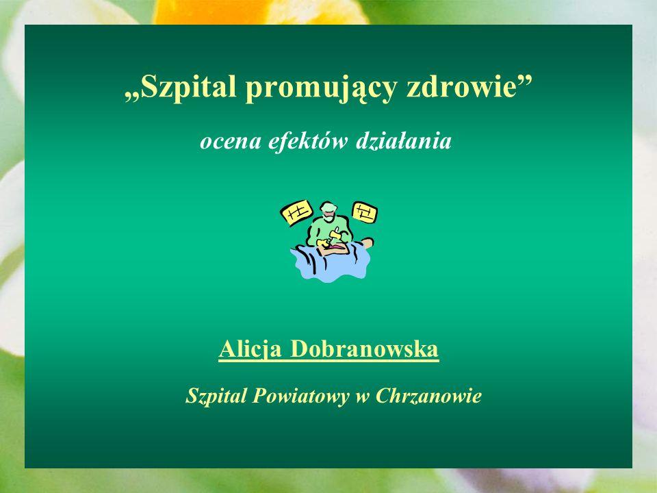 Szpital promujący zdrowie ocena efektów działania Alicja Dobranowska Szpital Powiatowy w Chrzanowie