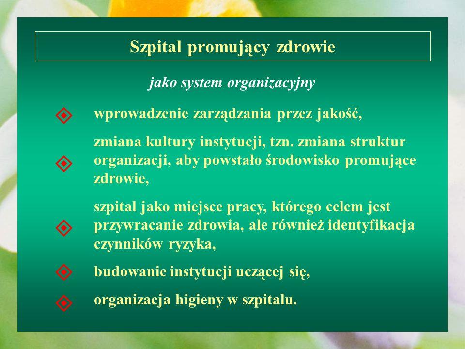wprowadzenie zarządzania przez jakość, zmiana kultury instytucji, tzn. zmiana struktur organizacji, aby powstało środowisko promujące zdrowie, szpital