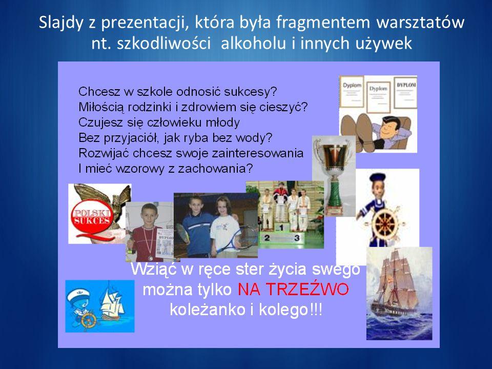 Slajdy z prezentacji, która była fragmentem warsztatów nt. szkodliwości alkoholu i innych używek