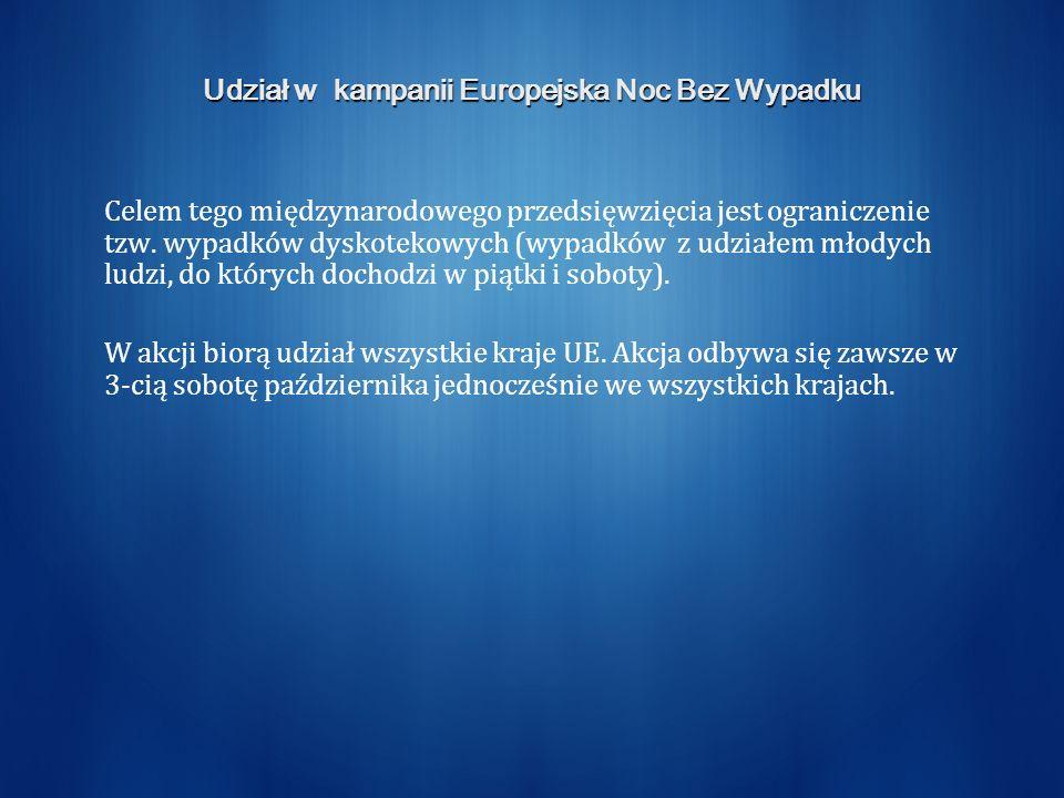 Udział w kampanii Europejska Noc Bez Wypadku Celem tego międzynarodowego przedsięwzięcia jest ograniczenie tzw.