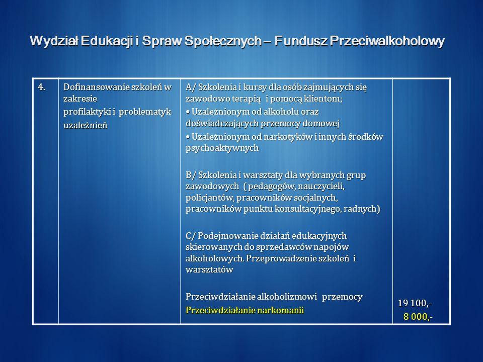 Wydział Edukacji i Spraw Społecznych – Fundusz Przeciwalkoholowy 4.