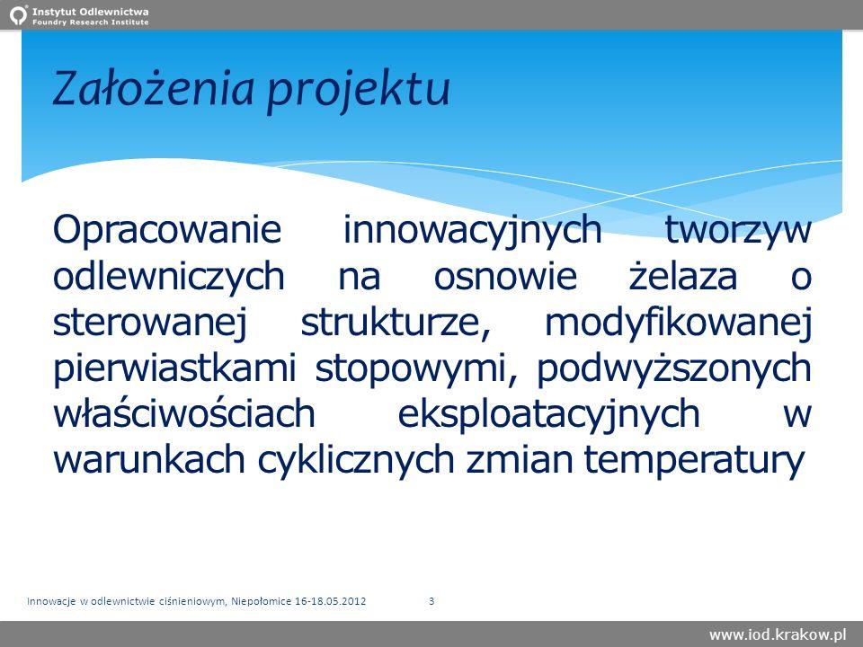 www.iod.krakow.pl Założenia projektu Opracowanie innowacyjnych tworzyw odlewniczych na osnowie żelaza o sterowanej strukturze, modyfikowanej pierwiastkami stopowymi, podwyższonych właściwościach eksploatacyjnych w warunkach cyklicznych zmian temperatury Innowacje w odlewnictwie ciśnieniowym, Niepołomice 16-18.05.20123