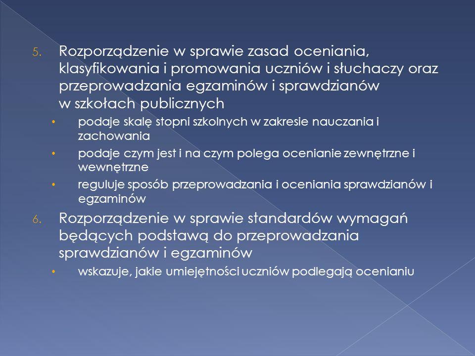 5. Rozporządzenie w sprawie zasad oceniania, klasyfikowania i promowania uczniów i słuchaczy oraz przeprowadzania egzaminów i sprawdzianów w szkołach