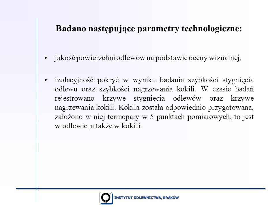 INSTYTUT ODLEWNICTWA, KRAKÓW Badano następujące parametry technologiczne: jakość powierzchni odlewów na podstawie oceny wizualnej, izolacyjność pokryć