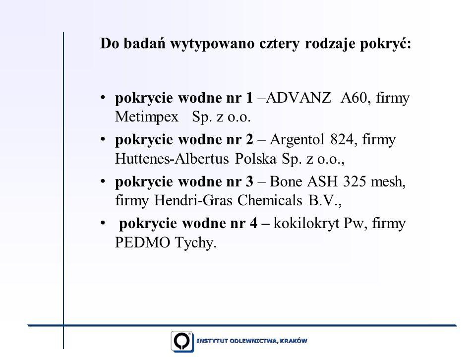 INSTYTUT ODLEWNICTWA, KRAKÓW Do badań wytypowano cztery rodzaje pokryć: pokrycie wodne nr 1 –ADVANZ A60, firmy Metimpex Sp. z o.o. pokrycie wodne nr 2