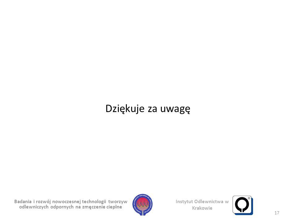 Badania i rozwój nowoczesnej technologii tworzyw odlewniczych odpornych na zmęczenie cieplne Instytut Odlewnictwa w Krakowie 17 Dziękuje za uwagę