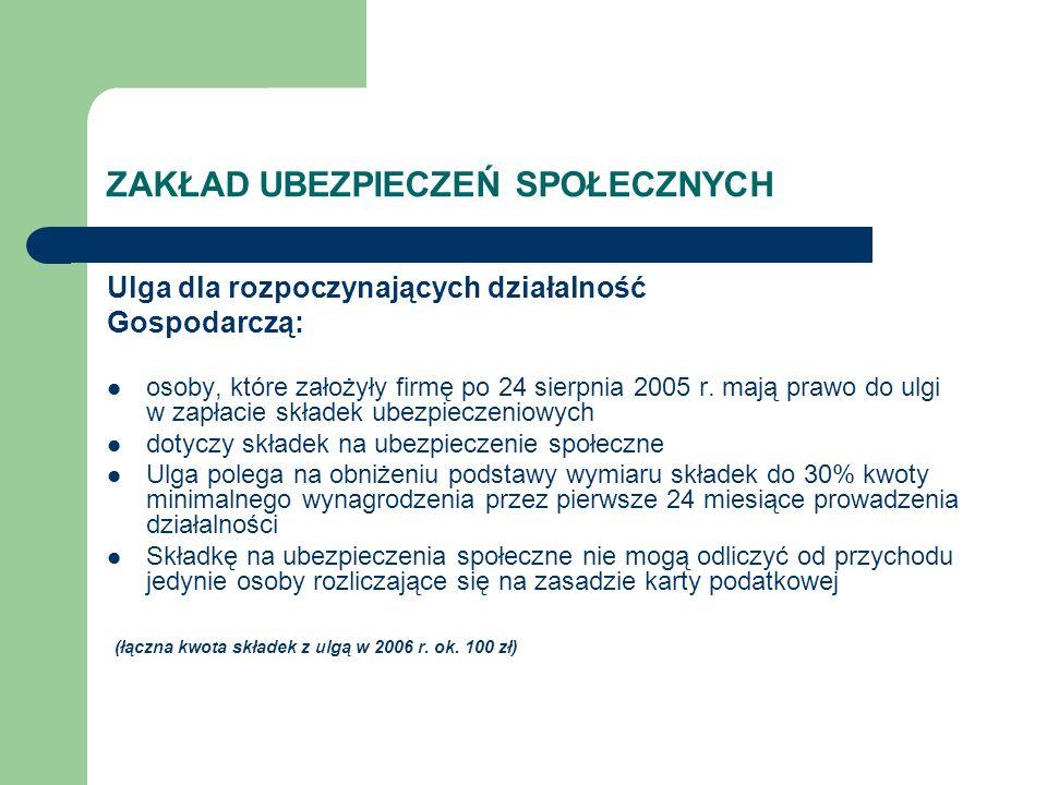 ZAKŁAD UBEZPIECZEŃ SPOŁECZNYCH Ulga dla rozpoczynających działalność Gospodarczą: osoby, które założyły firmę po 24 sierpnia 2005 r. mają prawo do ulg