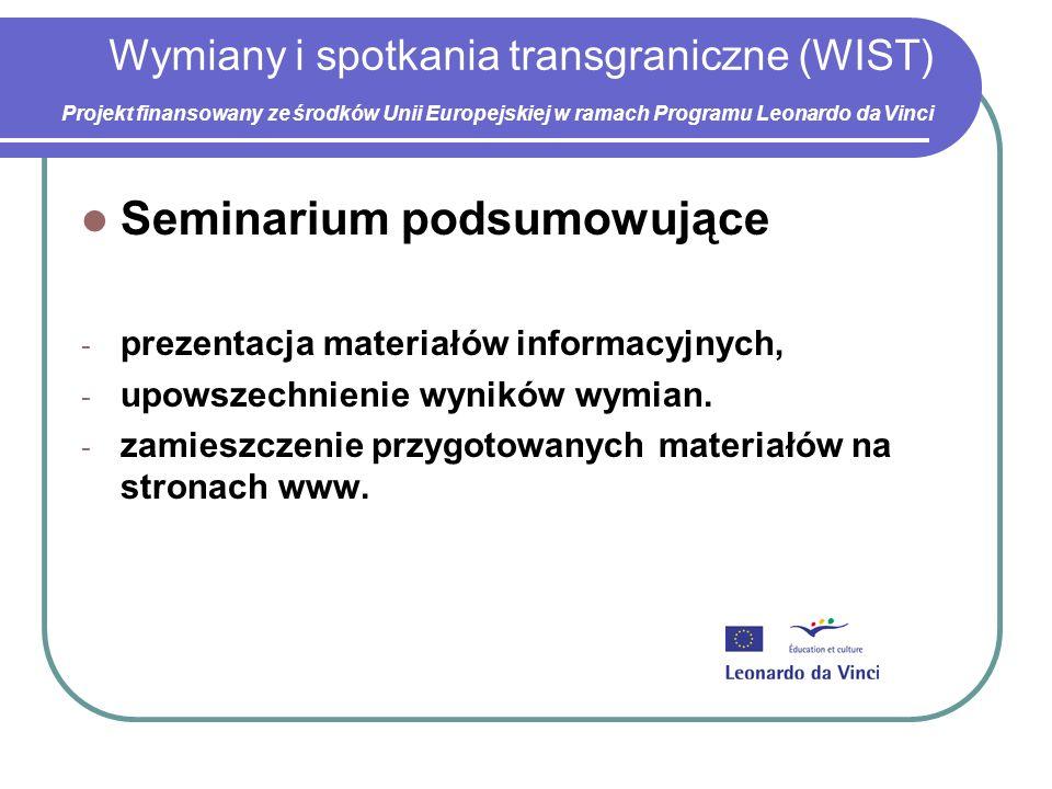 Wymiany i spotkania transgraniczne (WIST) Projekt finansowany ze środków Unii Europejskiej w ramach Programu Leonardo da Vinci Seminarium podsumowujące - prezentacja materiałów informacyjnych, - upowszechnienie wyników wymian.