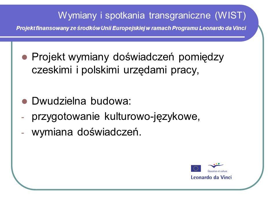 Wymiany i spotkania transgraniczne (WIST) Projekt finansowany ze środków Unii Europejskiej w ramach Programu Leonardo da Vinci Projekt wymiany doświadczeń pomiędzy czeskimi i polskimi urzędami pracy, Dwudzielna budowa: - przygotowanie kulturowo-językowe, - wymiana doświadczeń.