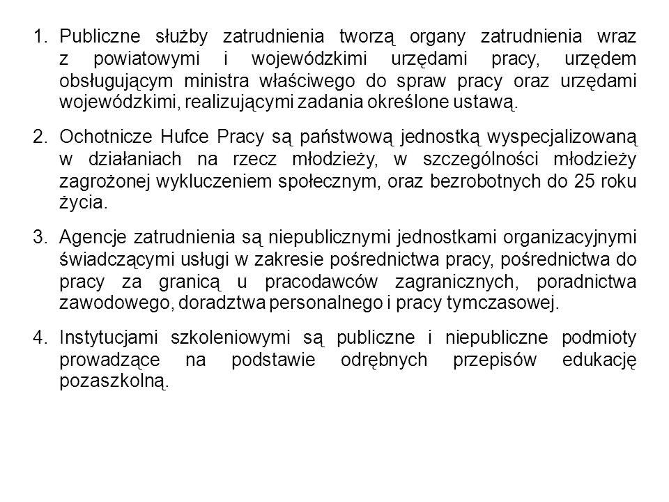 1.Publiczne służby zatrudnienia tworzą organy zatrudnienia wraz z powiatowymi i wojewódzkimi urzędami pracy, urzędem obsługującym ministra właściwego