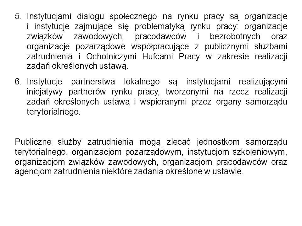 5.Instytucjami dialogu społecznego na rynku pracy są organizacje i instytucje zajmujące się problematyką rynku pracy: organizacje związków zawodowych,
