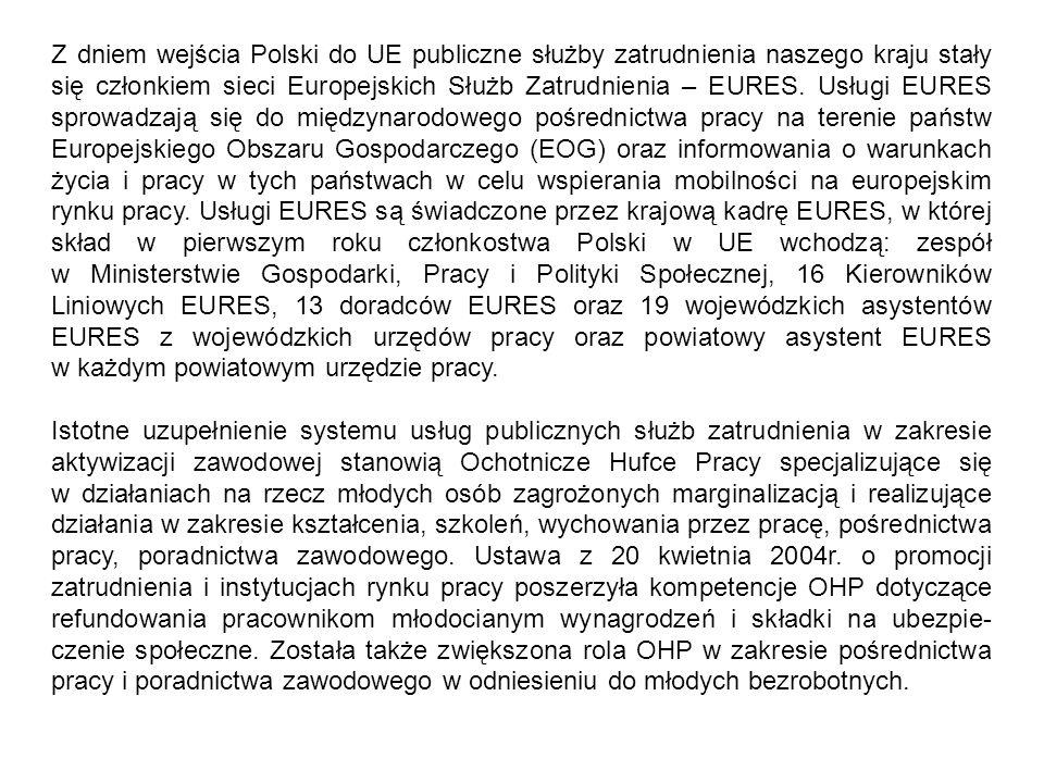 Z dniem wejścia Polski do UE publiczne służby zatrudnienia naszego kraju stały się członkiem sieci Europejskich Służb Zatrudnienia – EURES. Usługi EUR
