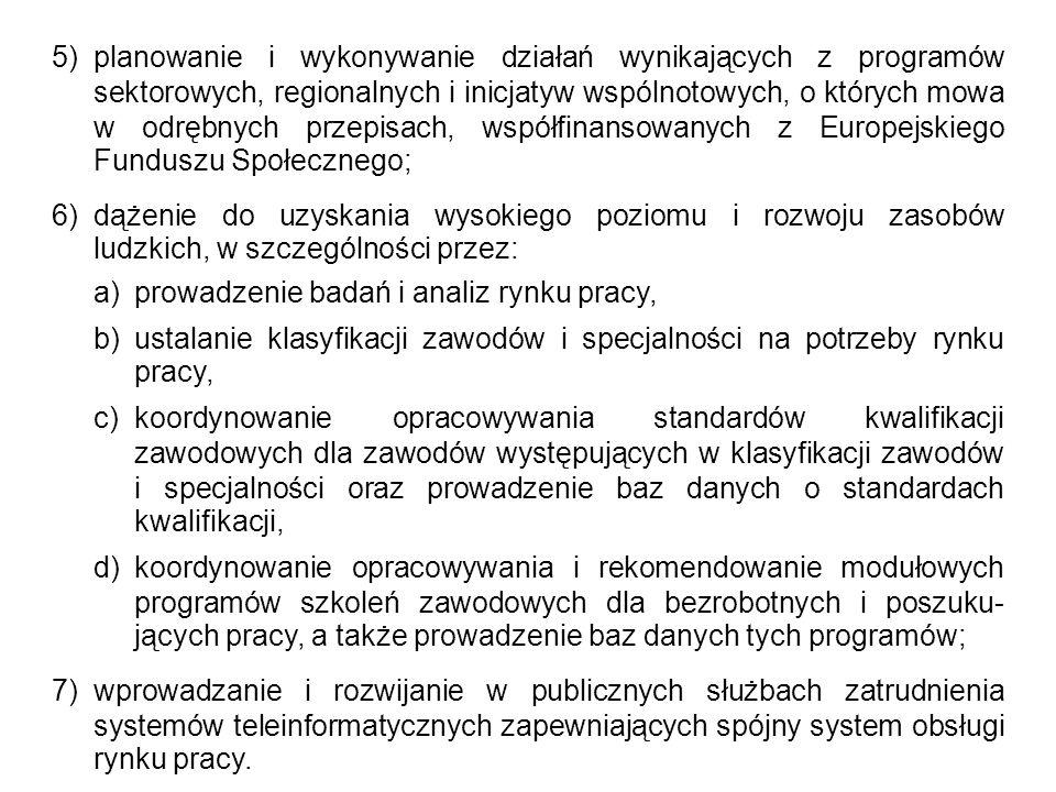 Zadania samorządu powiatu Do zadań samorządu powiatu w zakresie polityki rynku pracy należy: 1.opracowanie i realizacja programu promocji zatrudnienia oraz aktywizacji lokalnego rynku pracy stanowiącego część powiatowej strategii rozwiązywania problemów społecznych, o której mowa w odrębnych przepisach; 2.pozyskiwanie i gospodarowanie środkami finansowymi na realizację zadań z zakresu aktywizacji lokalnego rynku pracy; 3.udzielanie pomocy bezrobotnym i poszukującym pracy w znalezieniu pracy, a także pracodawcom w pozyskaniu pracowników przez pośrednictwo pracy i poradnictwo zawodowe; 4.rejestrowanie bezrobotnych i poszukujących pracy; 5.inicjowanie i wdrażanie instrumentów rynku pracy; 6.inicjowanie, organizowanie i finansowanie usług i instrumentów rynku pracy;