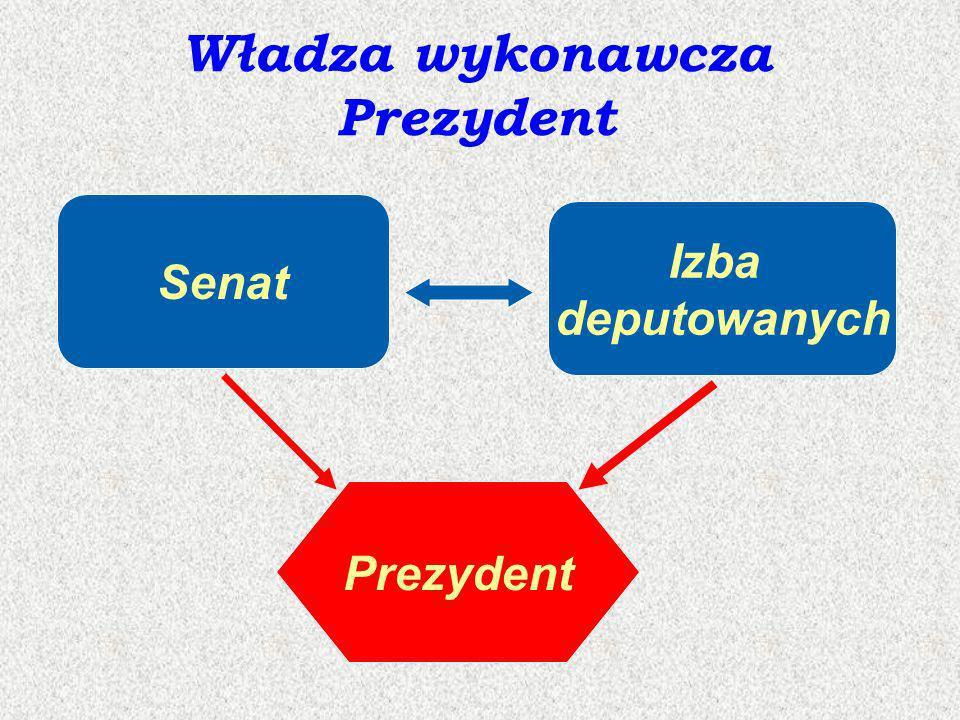 Władza wykonawcza Prezydent Senat Izba deputowanych Prezydent