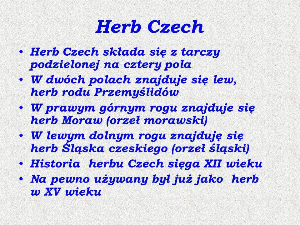 Herb Czech składa się z tarczy podzielonej na cztery pola W dwóch polach znajduje się lew, herb rodu Przemyślidów W prawym górnym rogu znajduje się he