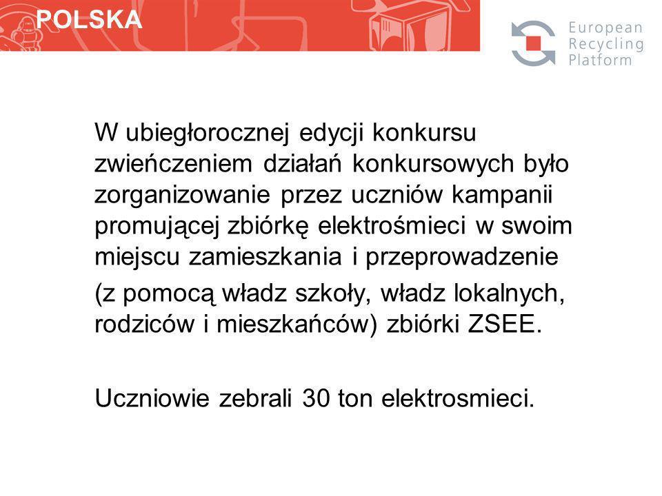 W ubiegłorocznej edycji konkursu zwieńczeniem działań konkursowych było zorganizowanie przez uczniów kampanii promującej zbiórkę elektrośmieci w swoim miejscu zamieszkania i przeprowadzenie (z pomocą władz szkoły, władz lokalnych, rodziców i mieszkańców) zbiórki ZSEE.