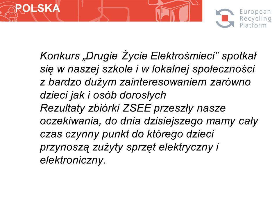 Konkurs Drugie Życie Elektrośmieci spotkał się w naszej szkole i w lokalnej społeczności z bardzo dużym zainteresowaniem zarówno dzieci jak i osób dorosłych Rezultaty zbiórki ZSEE przeszły nasze oczekiwania, do dnia dzisiejszego mamy cały czas czynny punkt do którego dzieci przynoszą zużyty sprzęt elektryczny i elektroniczny.