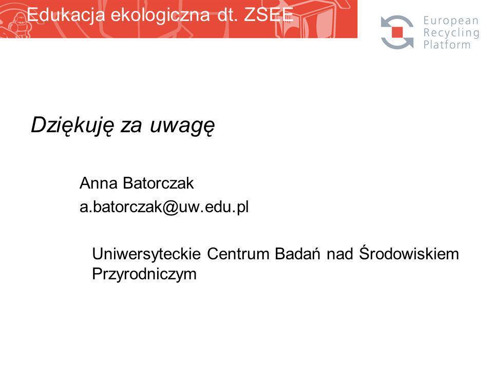 Dziękuję za uwagę Anna Batorczak a.batorczak@uw.edu.pl Uniwersyteckie Centrum Badań nad Środowiskiem Przyrodniczym Edukacja ekologiczna dt.