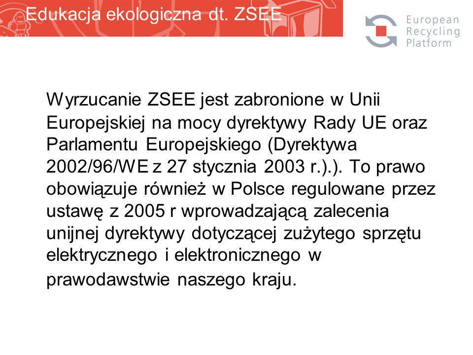 Wyrzucanie ZSEE jest zabronione w Unii Europejskiej na mocy dyrektywy Rady UE oraz Parlamentu Europejskiego (Dyrektywa 2002/96/WE z 27 stycznia 2003 r.).).
