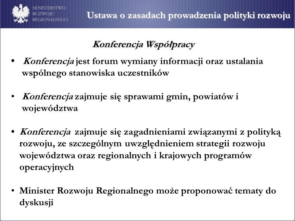 Ustawa o zasadach prowadzenia polityki rozwoju Konferencja jest forum wymiany informacji oraz ustalania wspólnego stanowiska uczestników Konferencja zajmuje się sprawami gmin, powiatów i województwa Konferencja zajmuje się zagadnieniami związanymi z polityką rozwoju, ze szczególnym uwzględnieniem strategii rozwoju województwa oraz regionalnych i krajowych programów operacyjnych Minister Rozwoju Regionalnego może proponować tematy do dyskusji Konferencja Współpracy