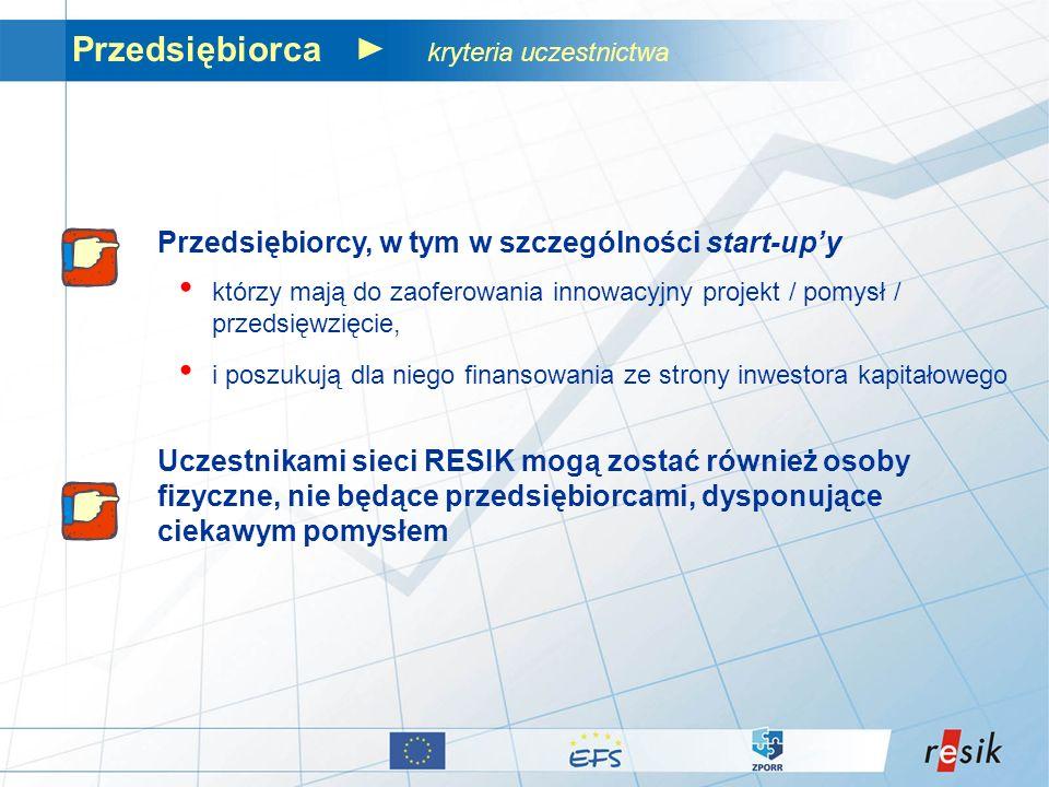 Przedsiębiorca kryteria uczestnictwa Przedsiębiorcy, w tym w szczególności start-upy którzy mają do zaoferowania innowacyjny projekt / pomysł / przeds