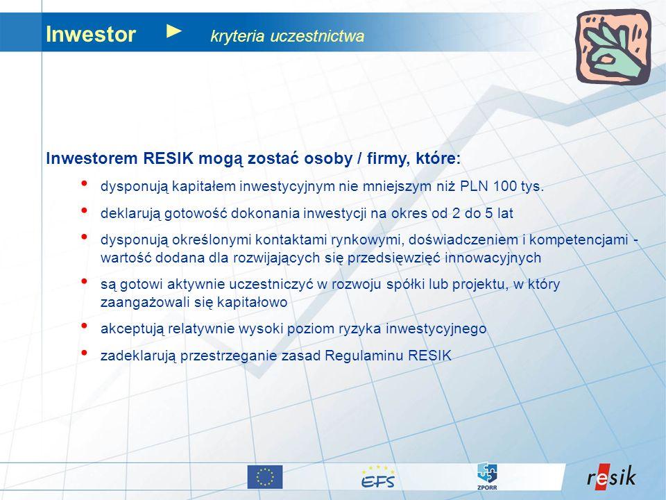 Inwestor kryteria uczestnictwa Inwestorem RESIK mogą zostać osoby / firmy, które: dysponują kapitałem inwestycyjnym nie mniejszym niż PLN 100 tys. dek