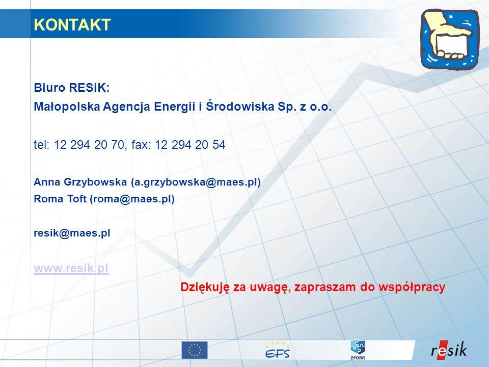 KONTAKT Biuro RESiK: Małopolska Agencja Energii i Środowiska Sp. z o.o. tel: 12 294 20 70, fax: 12 294 20 54 Anna Grzybowska (a.grzybowska@maes.pl) Ro