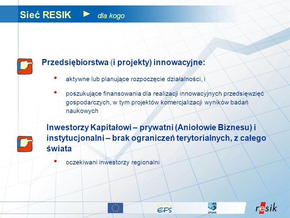 Sieć RESIK dla kogo Przedsiębiorstwa (i projekty) innowacyjne: aktywne lub planujące rozpoczęcie działalności, i poszukujące finansowania dla realizac