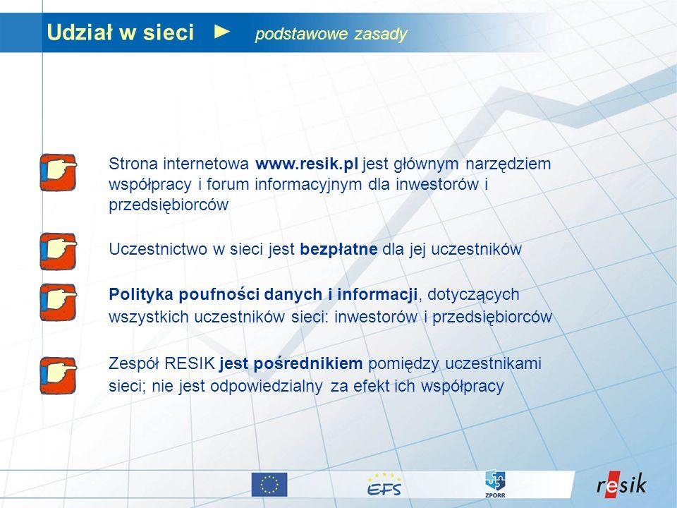 Udział w sieci podstawowe zasady Strona internetowa www.resik.pl jest głównym narzędziem współpracy i forum informacyjnym dla inwestorów i przedsiębio