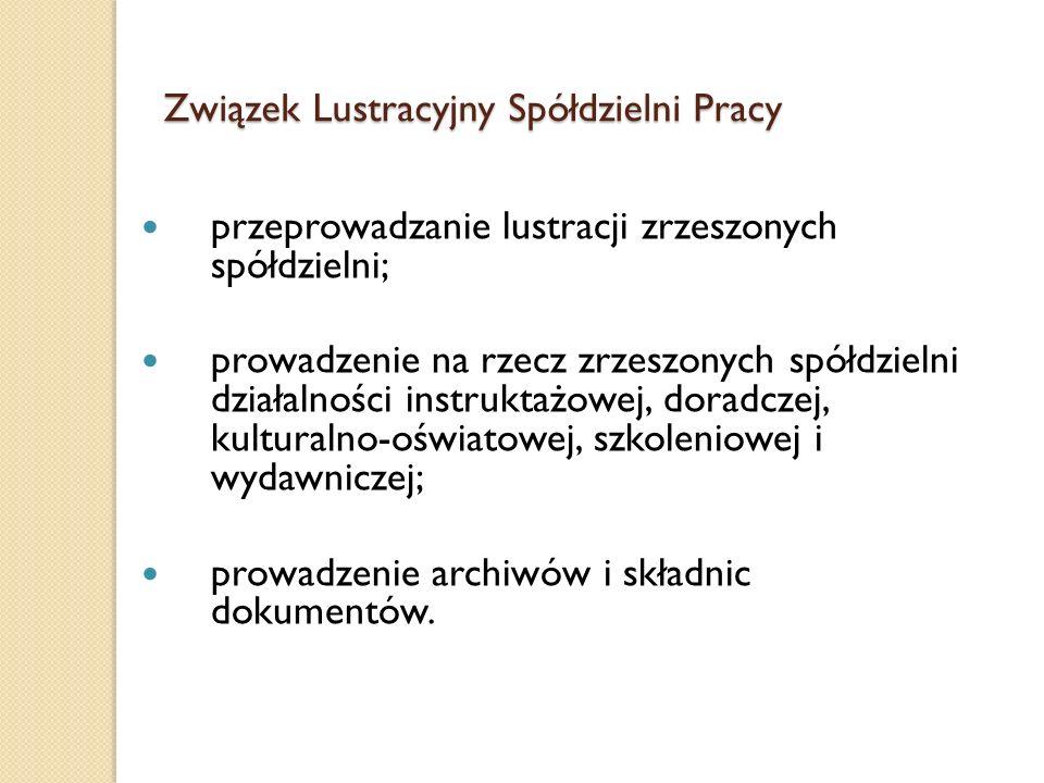 Związek Lustracyjny Spółdzielni Pracy prowadzi swoją działalność w trzech zasadniczych zakresach: Pomoc istniejącym spółdzielniom w rozwijaniu ich działalności; Rozwój nowych form spółdzielczych; Udział w instytucjonalizacji i integracji sektora polskiej ekonomii społecznej;