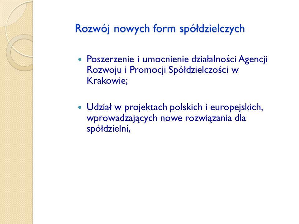 Rozwój nowych form spółdzielczych Poszerzenie i umocnienie działalności Agencji Rozwoju i Promocji Spółdzielczości w Krakowie; Udział w projektach pol