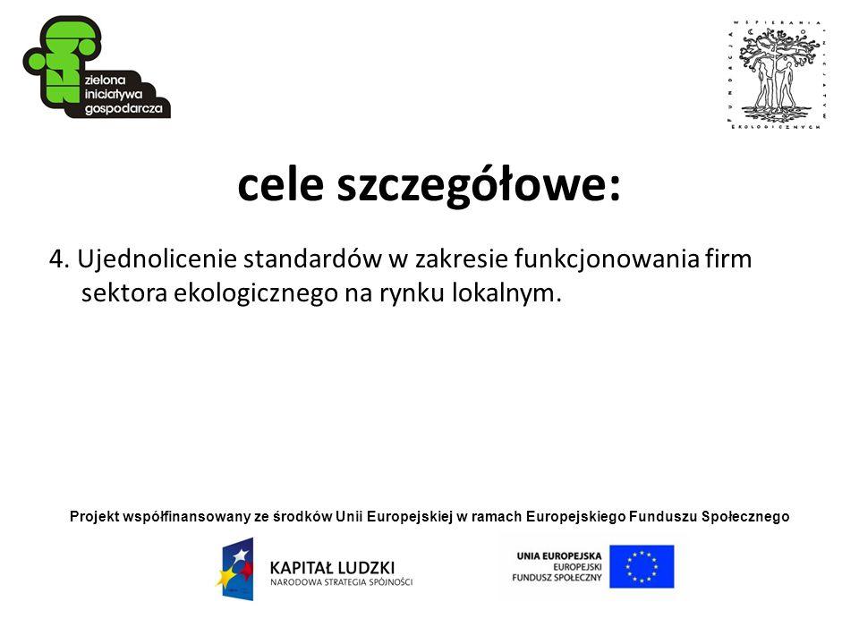 Projekt współfinansowany ze środków Unii Europejskiej w ramach Europejskiego Funduszu Społecznego cele szczegółowe: 4. Ujednolicenie standardów w zakr