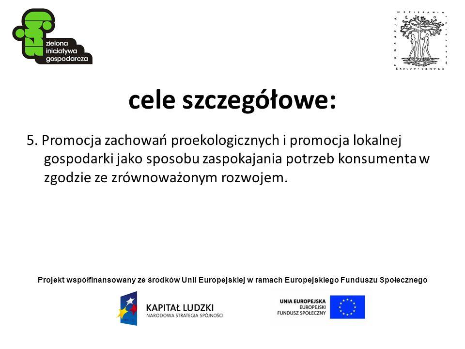 Projekt współfinansowany ze środków Unii Europejskiej w ramach Europejskiego Funduszu Społecznego cele szczegółowe: 5. Promocja zachowań proekologiczn