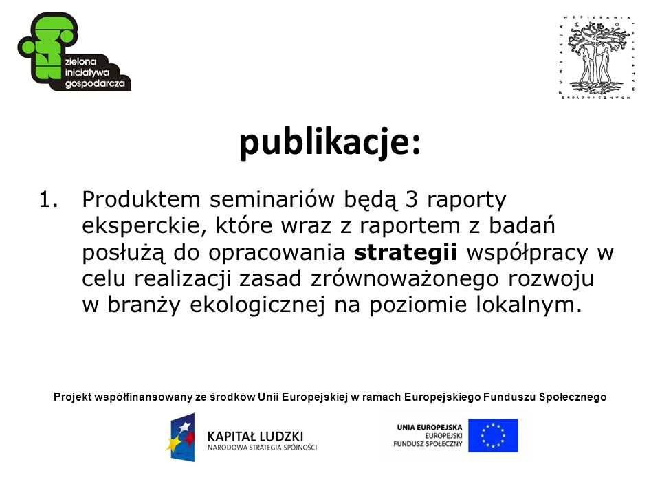 Projekt współfinansowany ze środków Unii Europejskiej w ramach Europejskiego Funduszu Społecznego publikacje: 1.Produktem seminariów będą 3 raporty ek