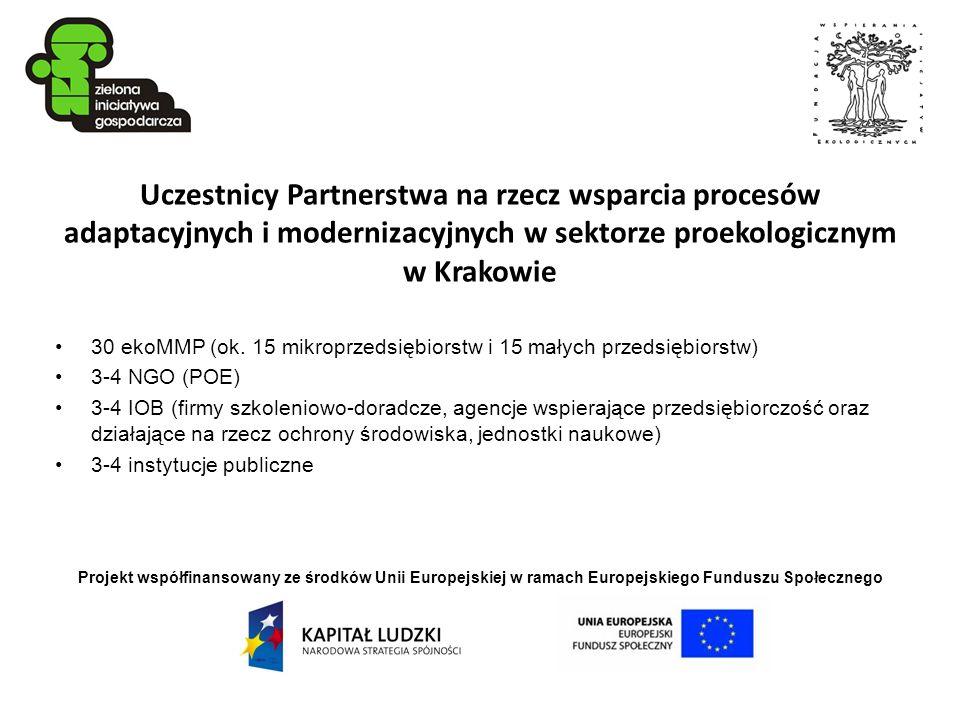 Projekt współfinansowany ze środków Unii Europejskiej w ramach Europejskiego Funduszu Społecznego Uczestnicy Partnerstwa na rzecz wsparcia procesów ad