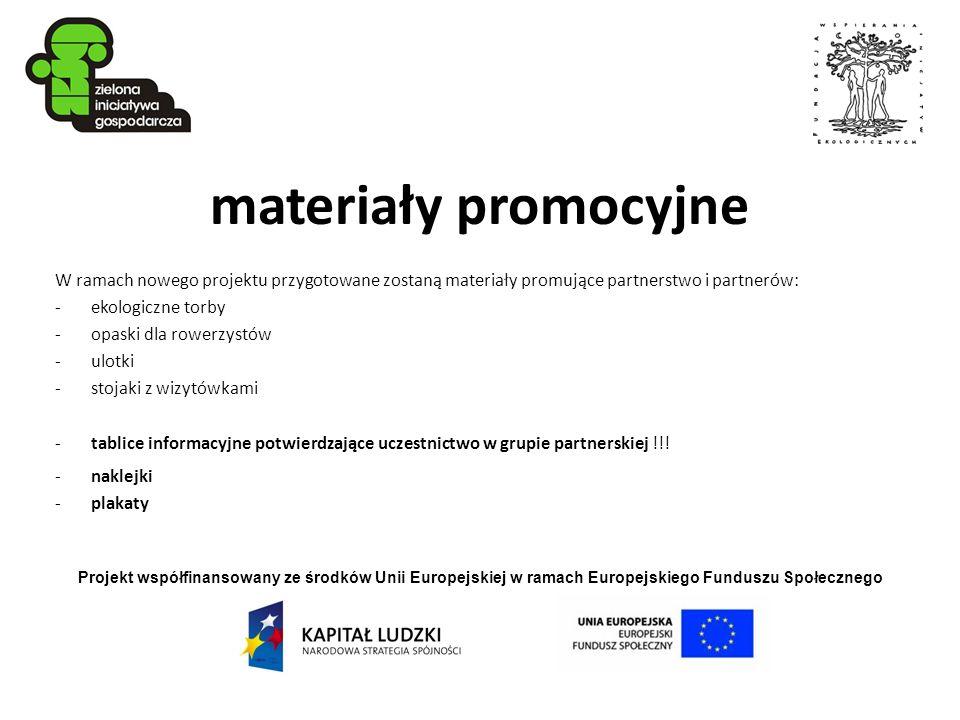 Projekt współfinansowany ze środków Unii Europejskiej w ramach Europejskiego Funduszu Społecznego materiały promocyjne W ramach nowego projektu przygo