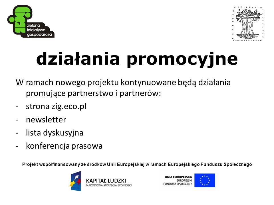 Projekt współfinansowany ze środków Unii Europejskiej w ramach Europejskiego Funduszu Społecznego działania promocyjne W ramach nowego projektu kontyn