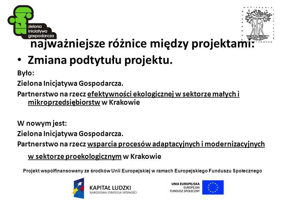 Projekt współfinansowany ze środków Unii Europejskiej w ramach Europejskiego Funduszu Społecznego najważniejsze różnice między projektami: Zmiana podt