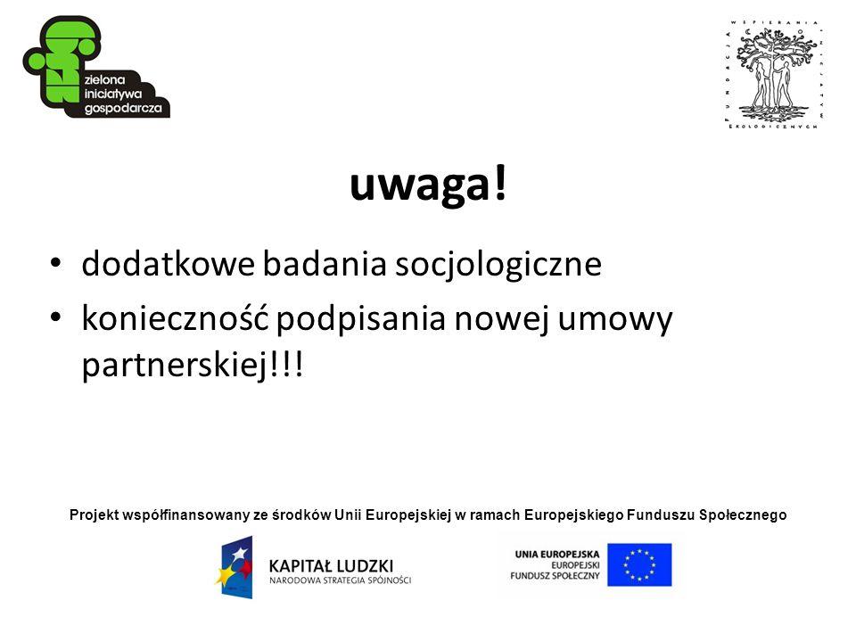 Projekt współfinansowany ze środków Unii Europejskiej w ramach Europejskiego Funduszu Społecznego uwaga! dodatkowe badania socjologiczne konieczność p